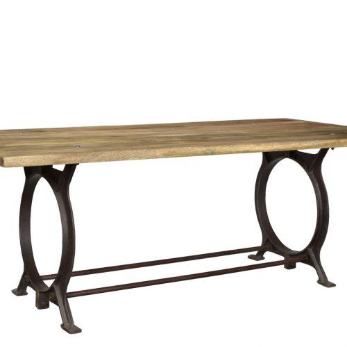 Table à manger bois de manguier et pieds en fonte