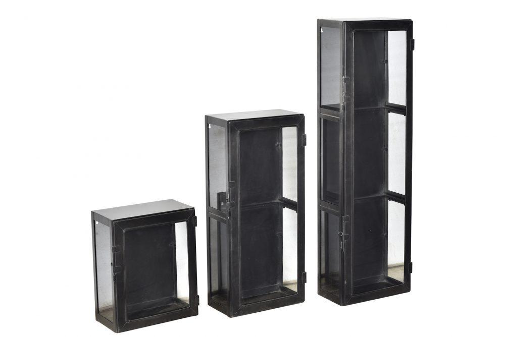 Lot de 3 vitrines fer