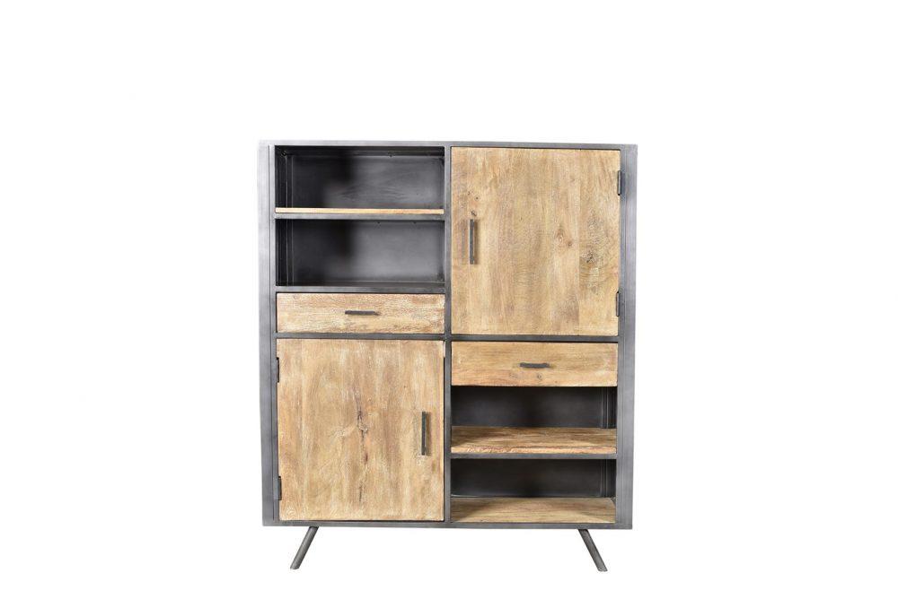 Meuble bibliothèque en bois et fer