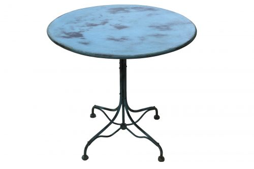 TABLE RONDE FER PATINE BLEUE